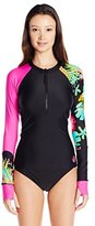 Body Glove Women's Akela Zip-Front Sleek Long Sleeve Rashguard