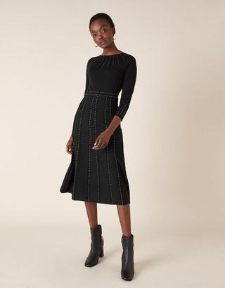 Monsoon Heat-Seal Gem Knit Midi Dress Black