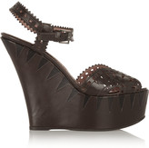 Alaia Cutout leather wedge sandals