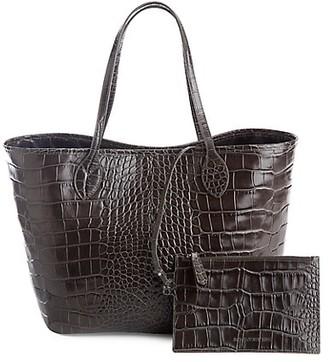 ROYCE New York Croc-Embossed Leather Tote