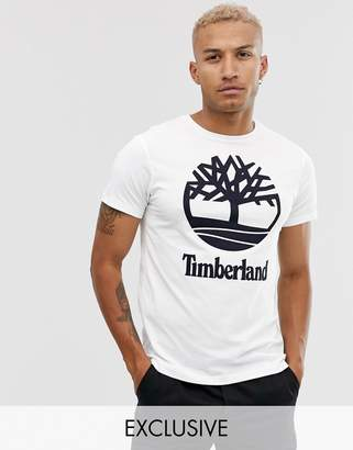 Timberland exclusive stacked logo t-shirt in white