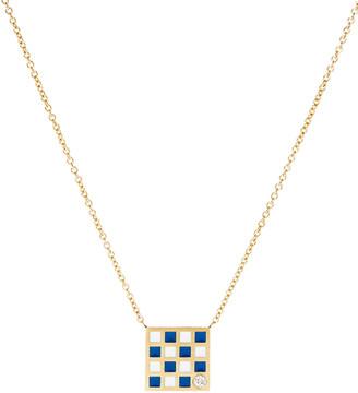 N. K Kane Code Flag Square Diamond Pendant Necklace