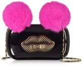 Maissa Black Plexiglass Lover Clutch w/Pink Fur Pompoms