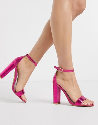 Glamorous barely there block heels in pink metallic