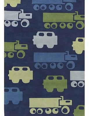Harriet Bee Bentley Blue Car Area Rug Rug Size: 2' x 3'