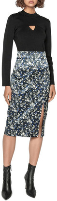 Cue Abstract Floral Satin Midi Skirt