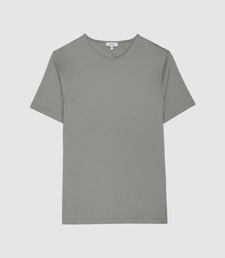 Reiss Balham - Mercerised Crew Neck T-shirt in Dark Sage