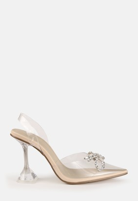 Missguided Nude Clear Diamante Front Court Heels