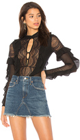 For Love & Lemons Eva Lace Ruffle Bodysuit in Black. - size L (also in M,S,XS)