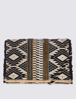 M&S Collection Aztec Print Hand Embellished Clutch Bag with Strap