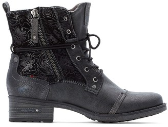 Mustang Faux Leather Lace-Up Ankle Boots with Floral Detail