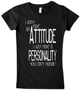 Micro Me Black 'I Don't Have an Attitude' Fitted Tee - Girls