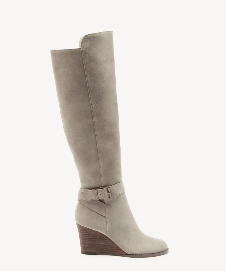 Sole Society Women's Paloma Wedges Boots Mushroom Size 5 Suede From