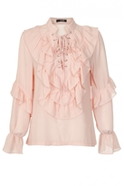 Quiz Peach Ruffle Lace Up Blouse
