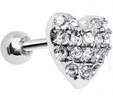 Body Candy Clear 18 Gauge Faithful Heart Cartilage Tragus Earring