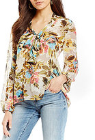 KUT from the Kloth Chie Floral Print Tie-Neck Top