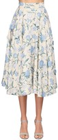 Luisa Beccaria FLORAL EMBROIDERED COTTON MIDI SKIRT
