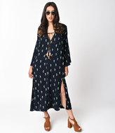 Unique Vintage 1970s Style Navy Blue & Cactus Print Long Sleeve Flare Dress