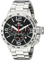 TW Steel Canteen Unisex Quartz Watch with Black Dial Chronograph Display and Silver Stainless Steel Bracelet CB7