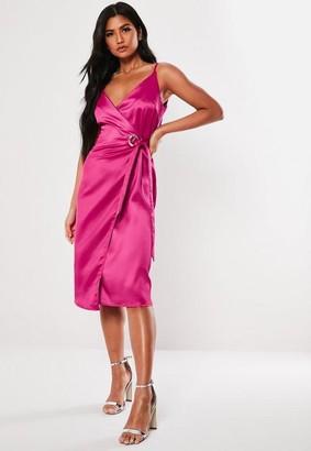Missguided Satin Cami Wrap Midi Dress