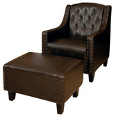 Elsternwick Leather Armchair & Footstool Set