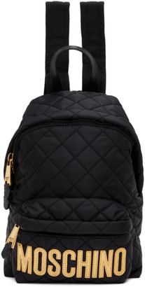 Moschino Black Small Quilted Logo Backpack