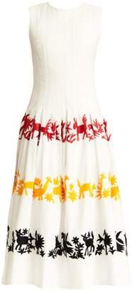 Carolina Herrera Graphic Plisse A-Line Dress