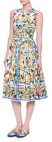 Dolce & Gabbana Sleeveless Maiolica Tile-Print Cotton Dress, White/Blue/Yellow