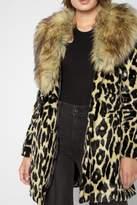 7 For All Mankind Long Faux Fur Coat In Ocelot