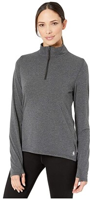 Carhartt Force Delmont 1/4 Zip Shirt (Black Heather) Women's Clothing