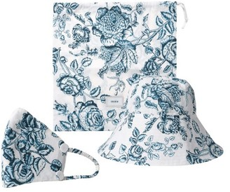Erdem Floral-print Bucket Hat And Face Covering - Blue White