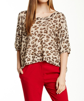 Sisters Beige Leopard Half-Sleeve Pullover Sweater
