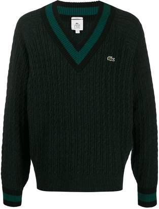 Lacoste Live cable knit v-neck jumper