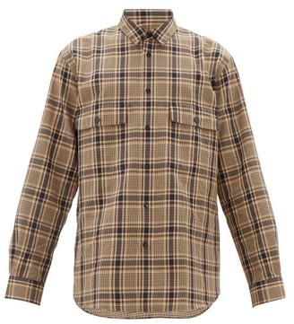 Raey Chest-pocket Checked Cotton-blend Shirt - Brown Multi