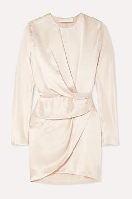 Mason by Michelle Mason Origami Draped Silk-charmeuse Mini Dress - Platinum