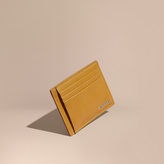 Burberry London Leather Money Clip Card Case, Yellow