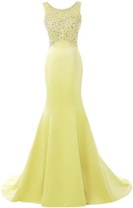 Solovedress Women's Long Mermaid Prom Dress Beaded Evening Gowns Wedding Dress Bridesmaid(UK 16