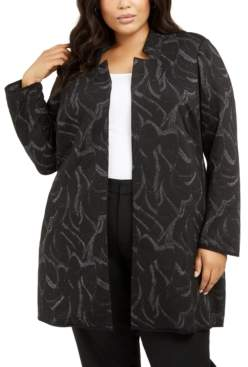 Alfani Plus Size Metallic Jacquard Long Jacket, Created For Macy's