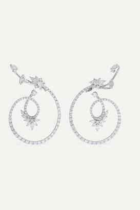 YEPREM 18-karat White Gold Diamond Earrings - one size