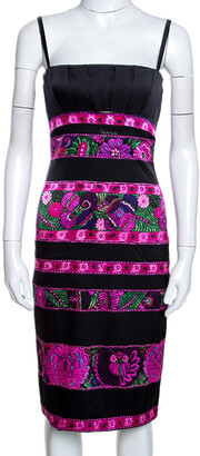 Roberto Cavalli Black Floral Print Silk Pleated Bustier Dress S
