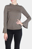 Le Lis Striped Ruffle Neck Blouse
