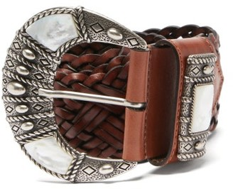 Etro Mother-of-pearl Inlay Braided-leather Belt - Brown Multi