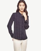Ann Taylor Petite Dash Stripe Shirred Blouse