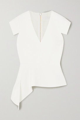 Roland Mouret Breen Asymmetric Stretch-crepe Peplum Top - White