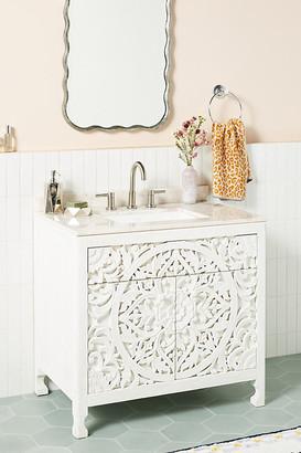 Anthropologie Handcarved Lombok Single Bathroom Vanity By in White