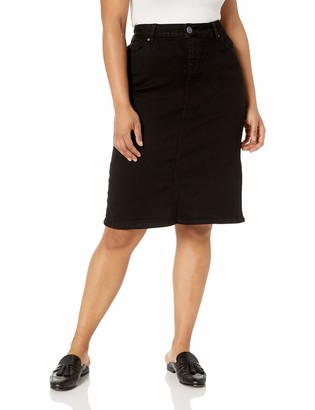 SLINK Jeans Women's Plus Size Rikki Black Denim Slim Skirt 18