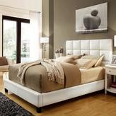 HomeSullivan White Faux Leather Queen-size Bed with Tufted Headboard