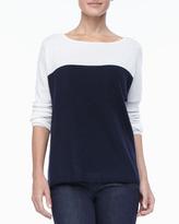 Neiman Marcus Colorblock Cashmere Long-Sleeve Top