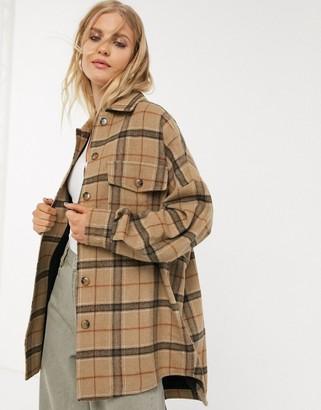 Bershka brushed cotton longline shacket in brown check