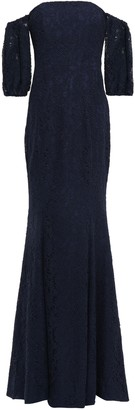 Zac Posen Off-the-shoulder Corded Lace-paneled Stretch-crepe Gown